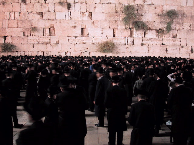Hasidic Jews at the Wailing Wall, Jeruselam, Israel