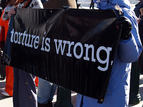 """Torture Is Wrong"" Sign At The International Day To Shut Down Guantanamo Bay, Supreme Court (Washington, DC) 
