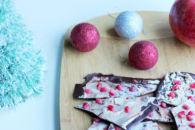 Pomegranate chocolate bark mini tree and ornaments by little luxury list