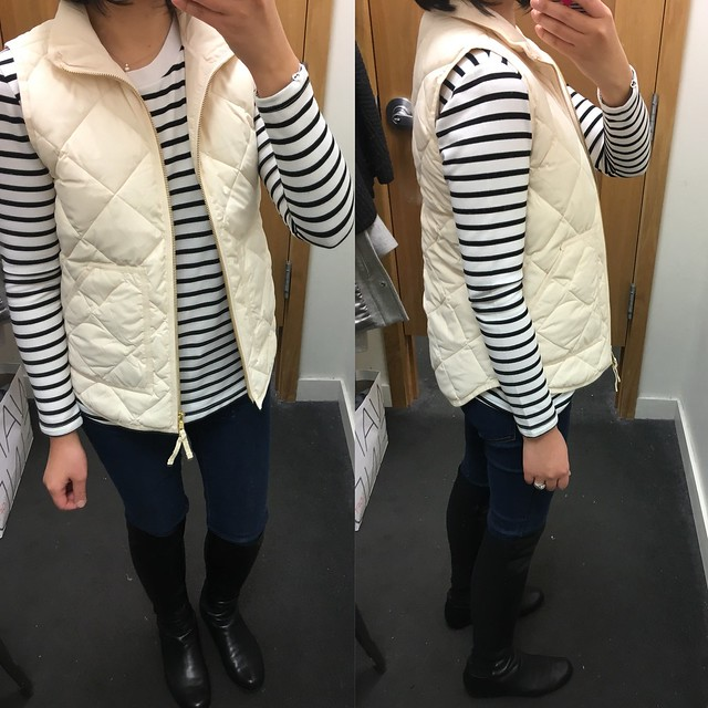 J.Crew Factory Quilted Puffer Vest, size XXS in bleached sand