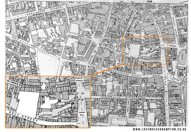 The Ordnance Survey map Wolverhampton 1938 showing the Three Public Houses and the Levedale site in 1938.