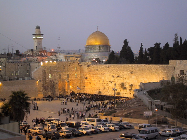 Dome on the Rock and Hasidic Jews at the Wailing Wall, Jeruselam, Israel