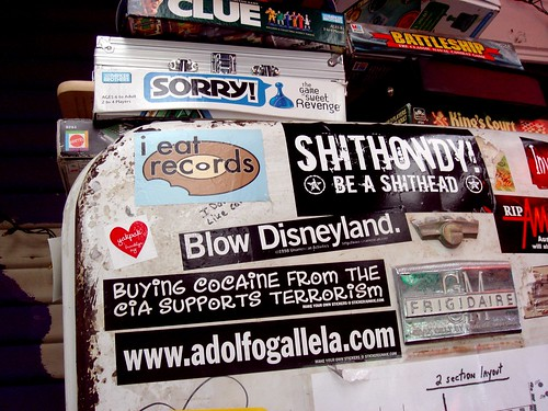 stickered refrigerator at the Spider House | by Ann Althouse