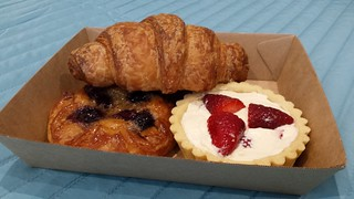 Croissant; Blueberry Frangipane Danish; Strawberries and Cream Tart from Smith & Deli