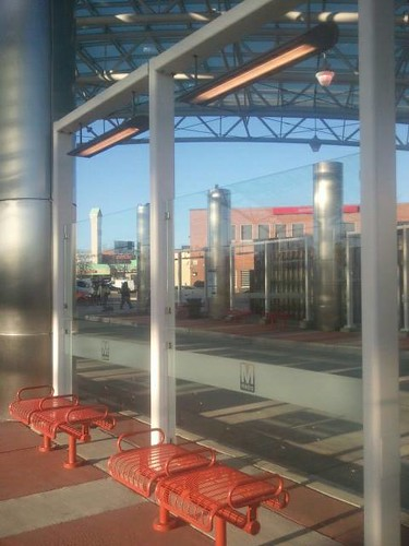 Bus stop bench and lighting, Takoma Langley Crossroads Transit Center