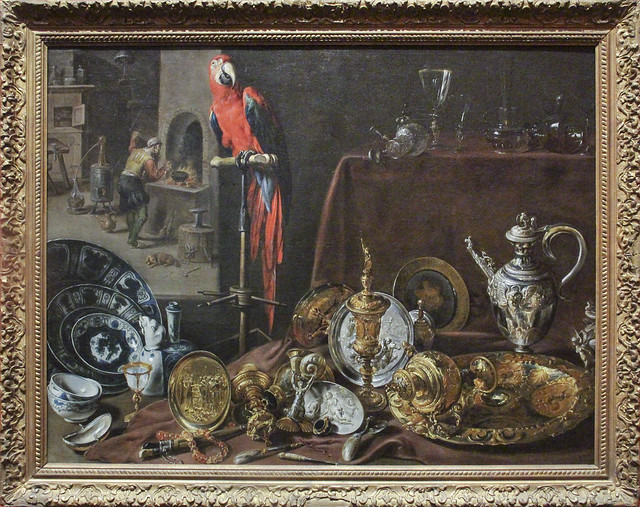 Still Life with Parrot, Adrian of Utrecht, 1636