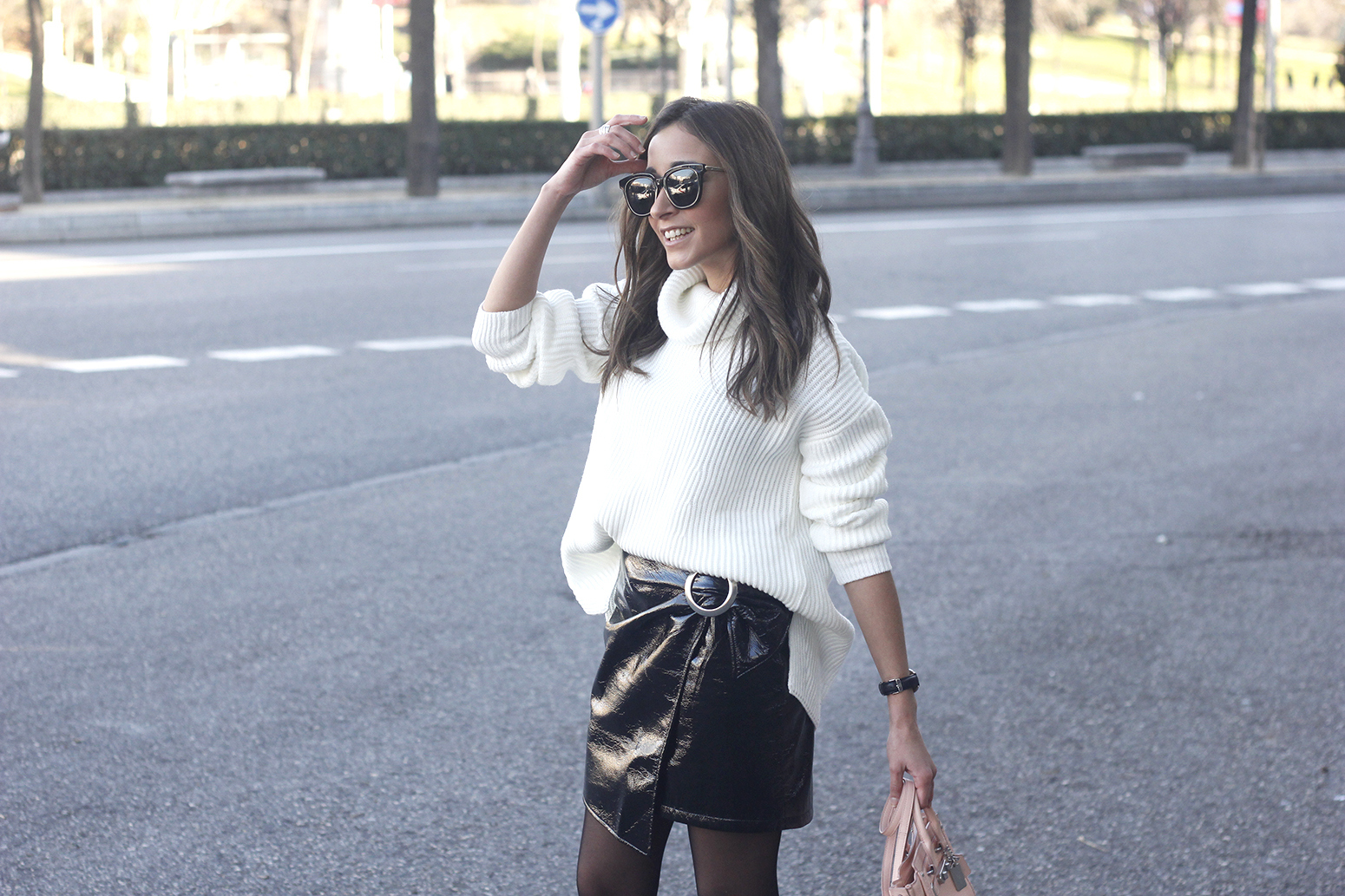 Black Patent leather skirt white sweater coach bag heels outfit style fashion winter22