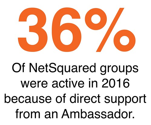 36 percent Of NetSquared groups were active in 2016 because of direct support from an Ambassador