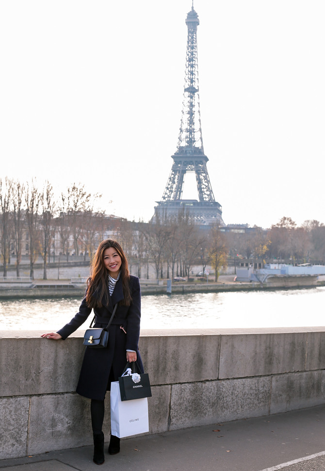 paris outfit winter fashion navy coat extra petite