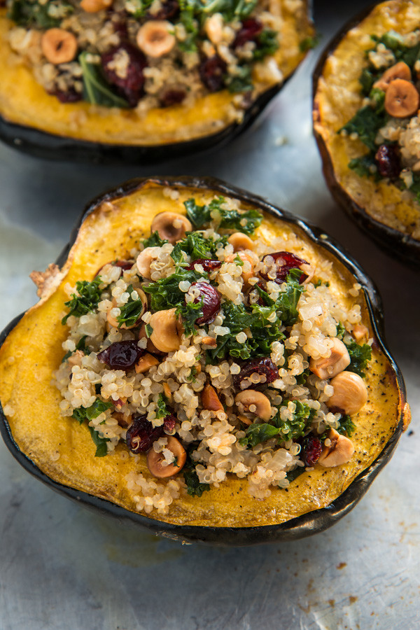Stuffed Acorn Squash with Quinoa, Hazelnuts, and Kale | Will Cook For Friends