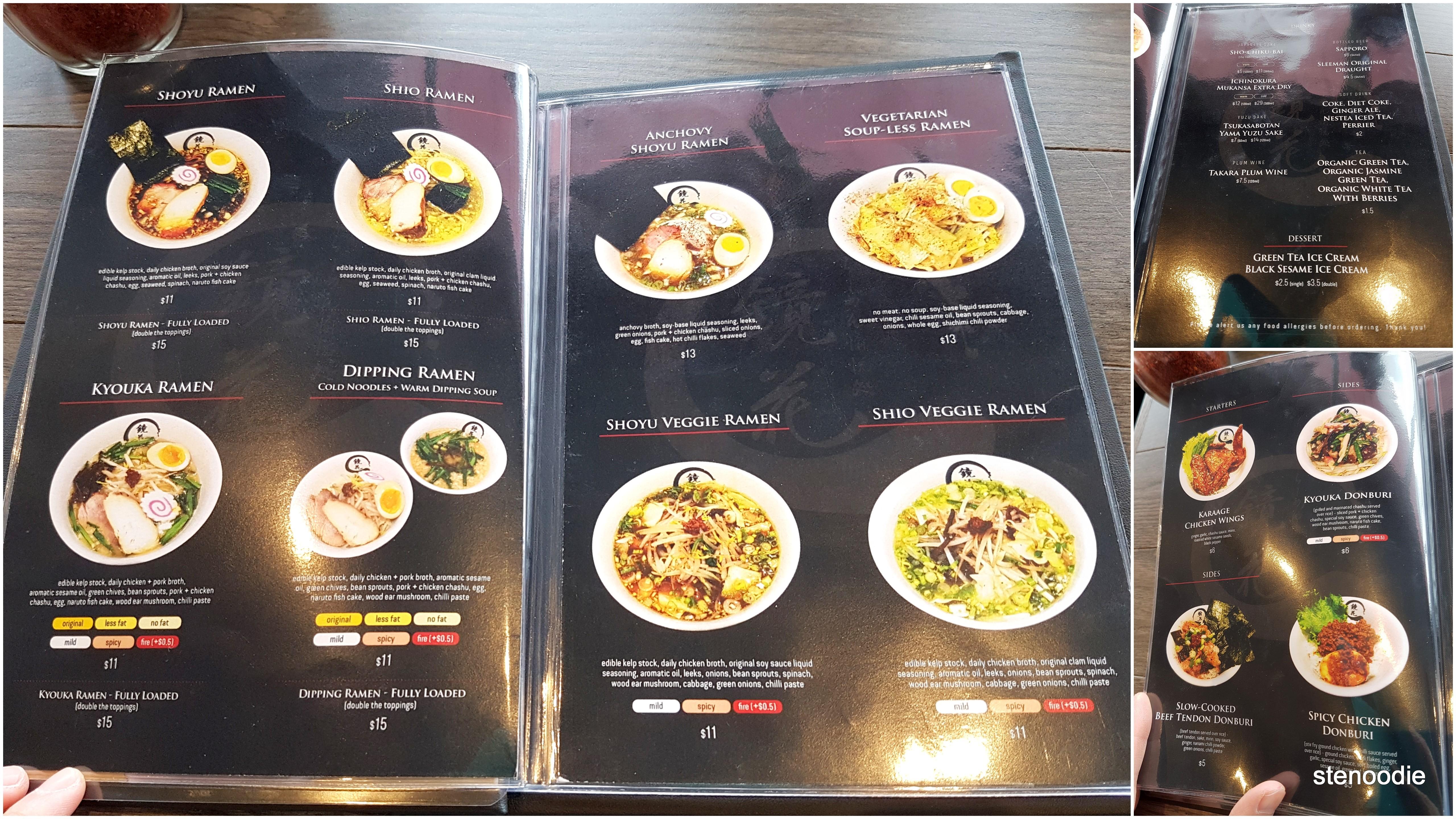 Kyouka Ramen menu