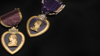 Two purple heart medals