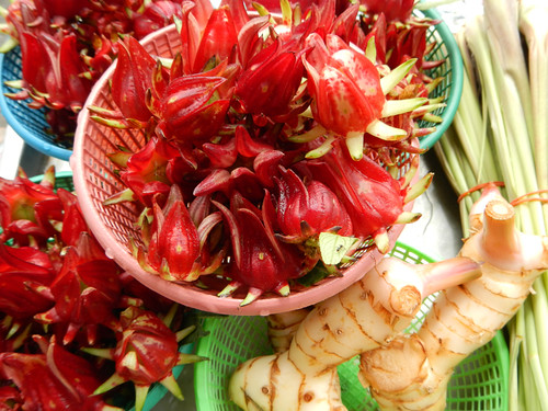 Jamaica (a type of hibiscus flower), galangal rhizome and lemon grass at the JJ Weekend Market in Bangkok, Thailand