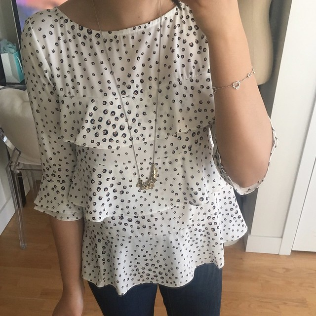 Ann Taylor Brushed Dot Tiered Ruffled Top, size XXS regular