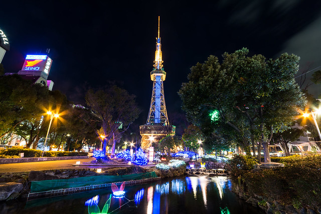 「NAGOYA AKARI NIGHT」とテレビ塔の夜景・ライトアップの写真