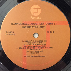 THE CANNONBALL ADDERLEY QUINTET:INSIDE STRAIGHT(LABEL SIDE-B)