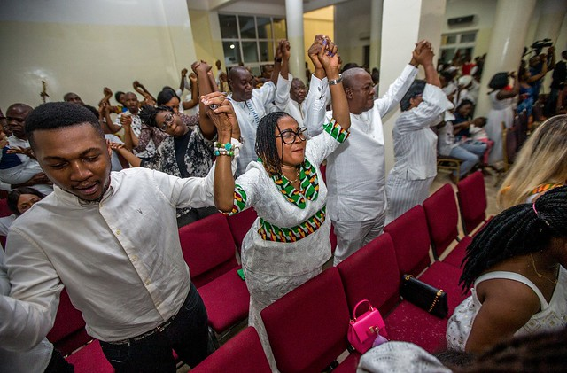 President John Mahama and family at 31st December mid night service at the Ringway Assemblies of Church, Accra.