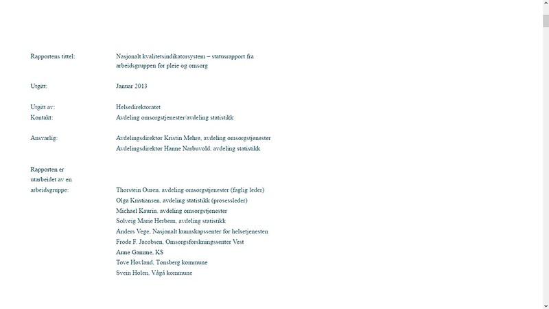 mer om helsedirektoratet rapport