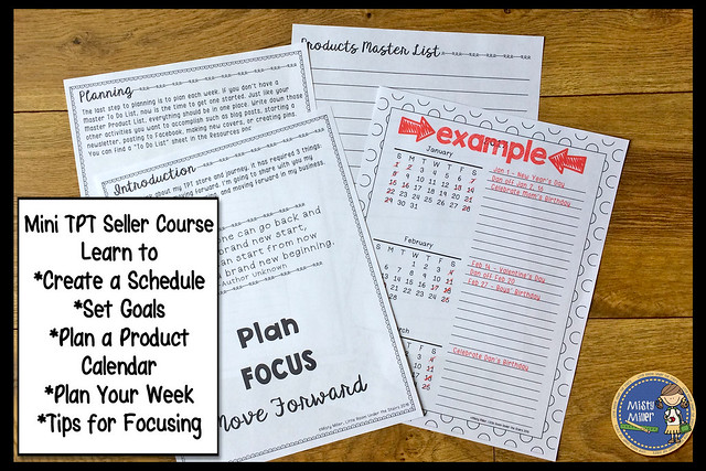 Plan, Focus, and Move Forward with Your TPT Store; set goals; organization; planning; schedule