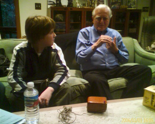 Doug Engelbart showing my son, Patrick, first mouse | by Robert Scoble