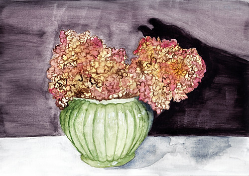 Dead flowers in vase - ink & watercolour