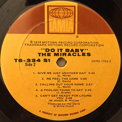THE MIRACLES:DO IT,BABY(LABEL SIDE-B)