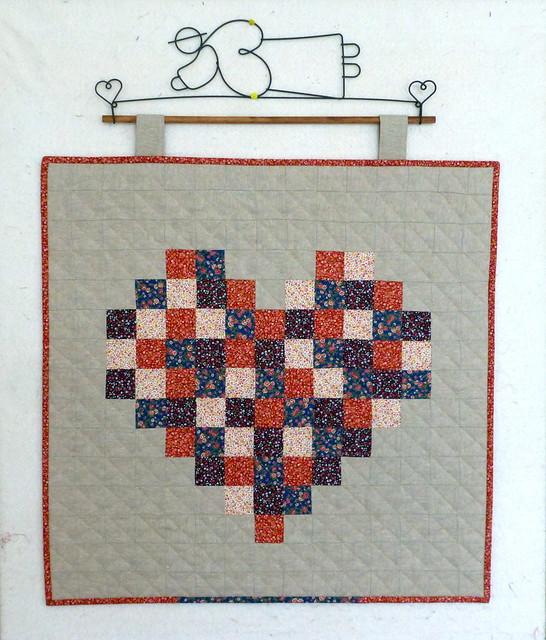 Pixelated heart mini quilt