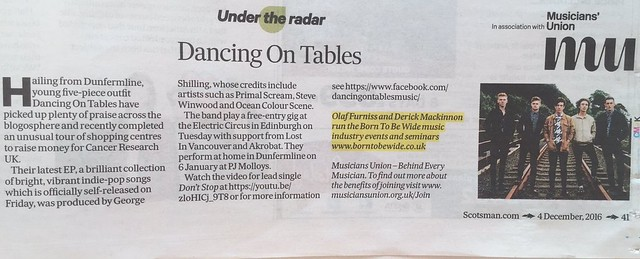Scotland On Sunday, 4 December 2016, Dancing On Tables