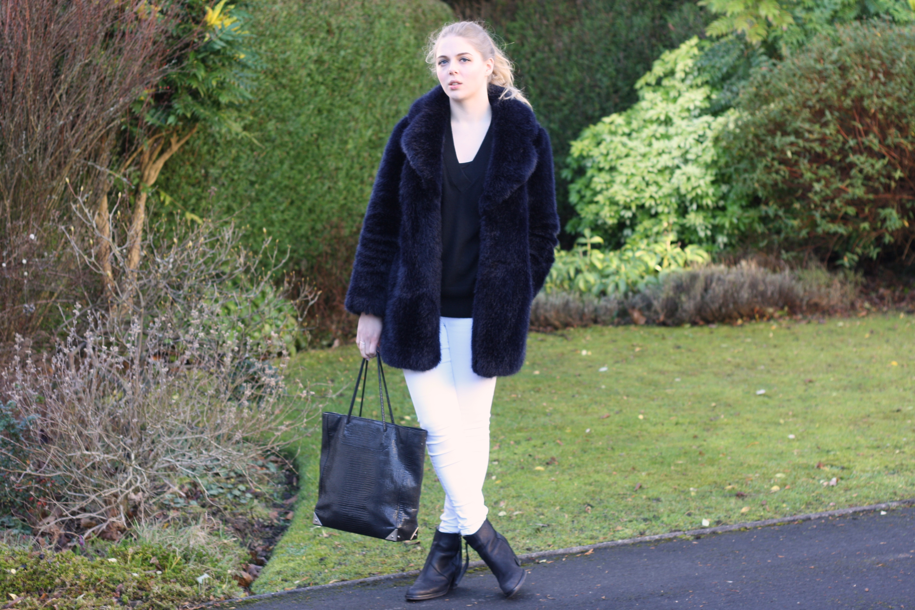 Alexander Wang black Prisma tote, Topshop white skinny jeans and Acne black Pistol boots