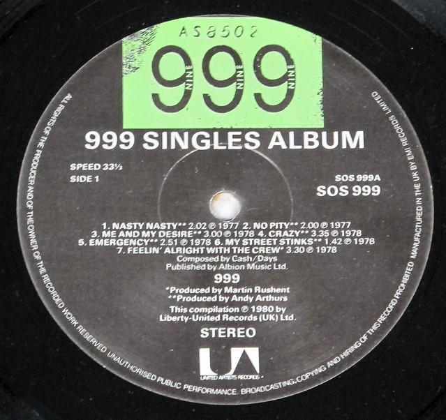 """999 SINGLES ALBUM + POSTER 12"""" LP VINYL"""