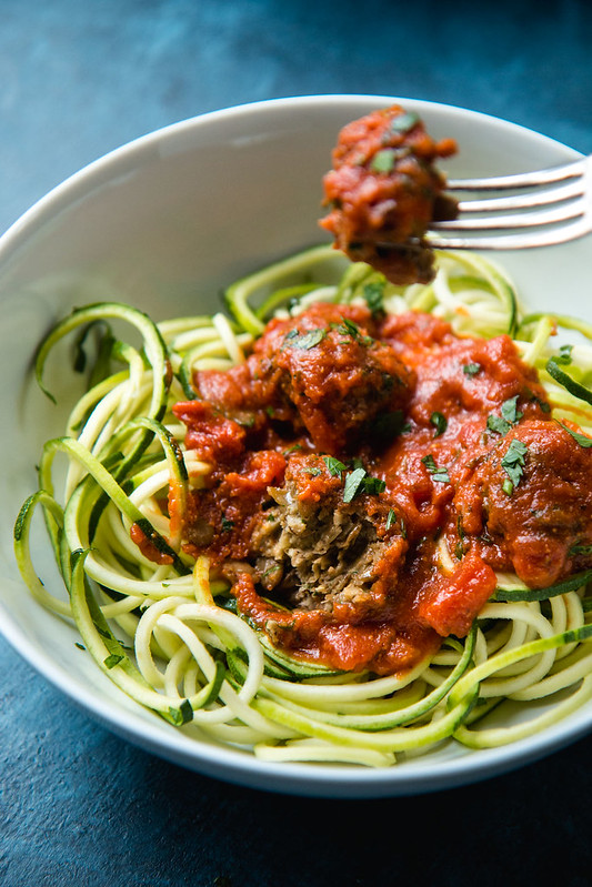 "Zoodles With Vegan ""Meatballs"" (Lentil Meatballs -- vegan and gluten-free) 