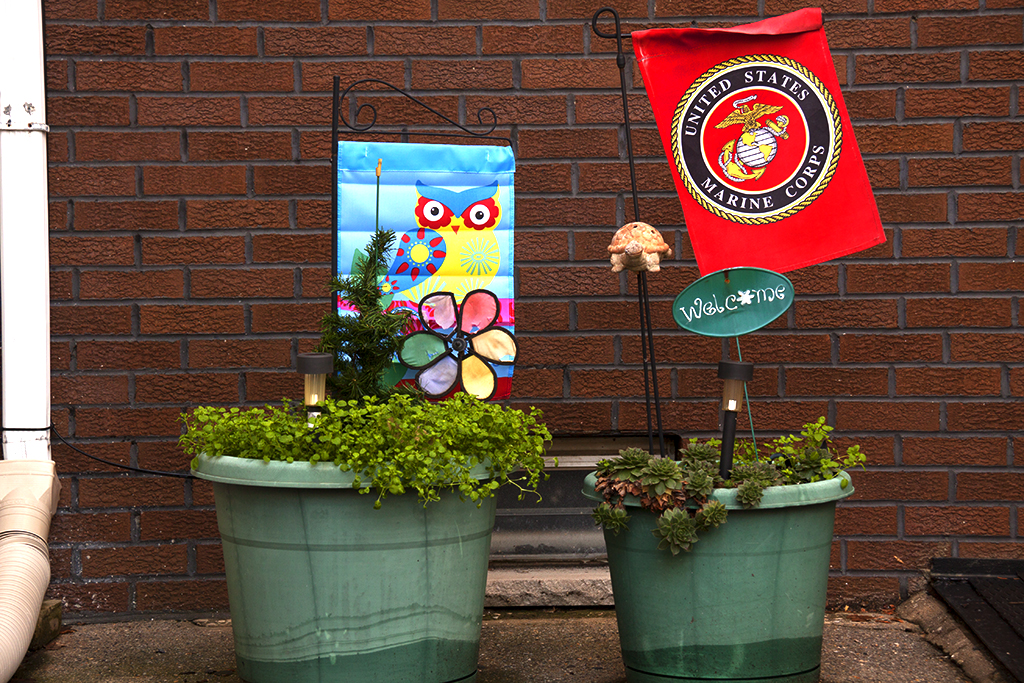 Owl and Marine Corps banners--Passyunk Square