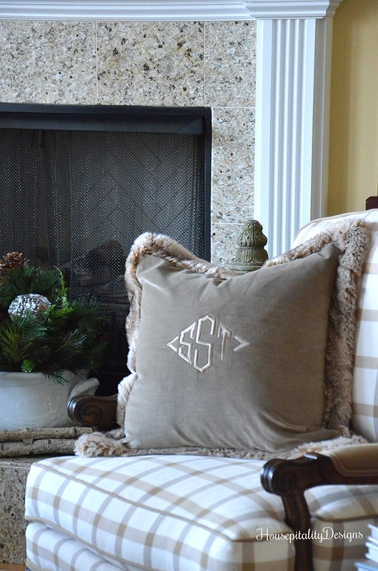 Velvet Fur Trimmed Pillow-Monogram-Housepitality Designs