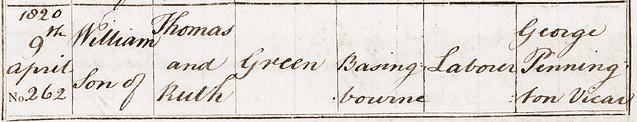 William Green bp Bassingbourn 1820 BT