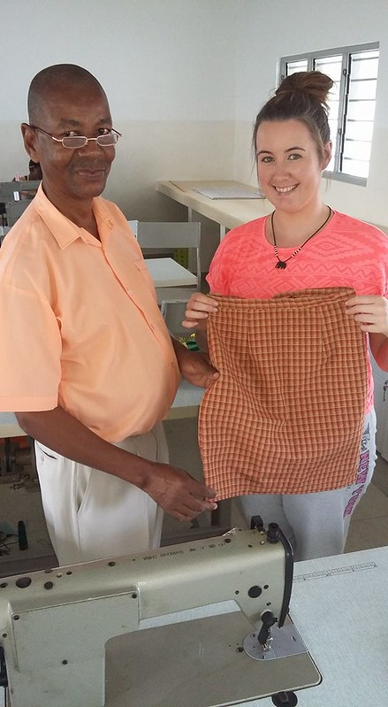 A new addition to the sewing room, Tracy with Kahindi