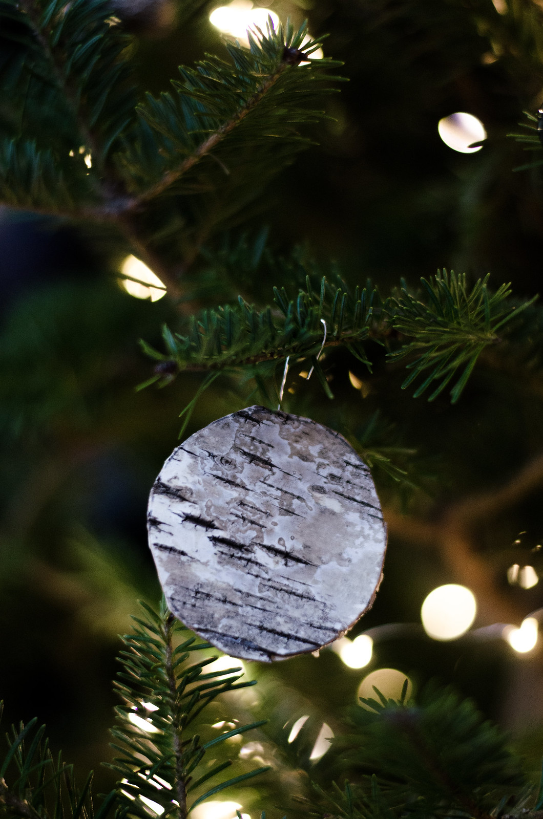 DIY Birch Bark Christmas Ornaments on juliettelaura.blogspot.com