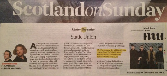 Scotland On Sunday, 11 December 2016, Static Union