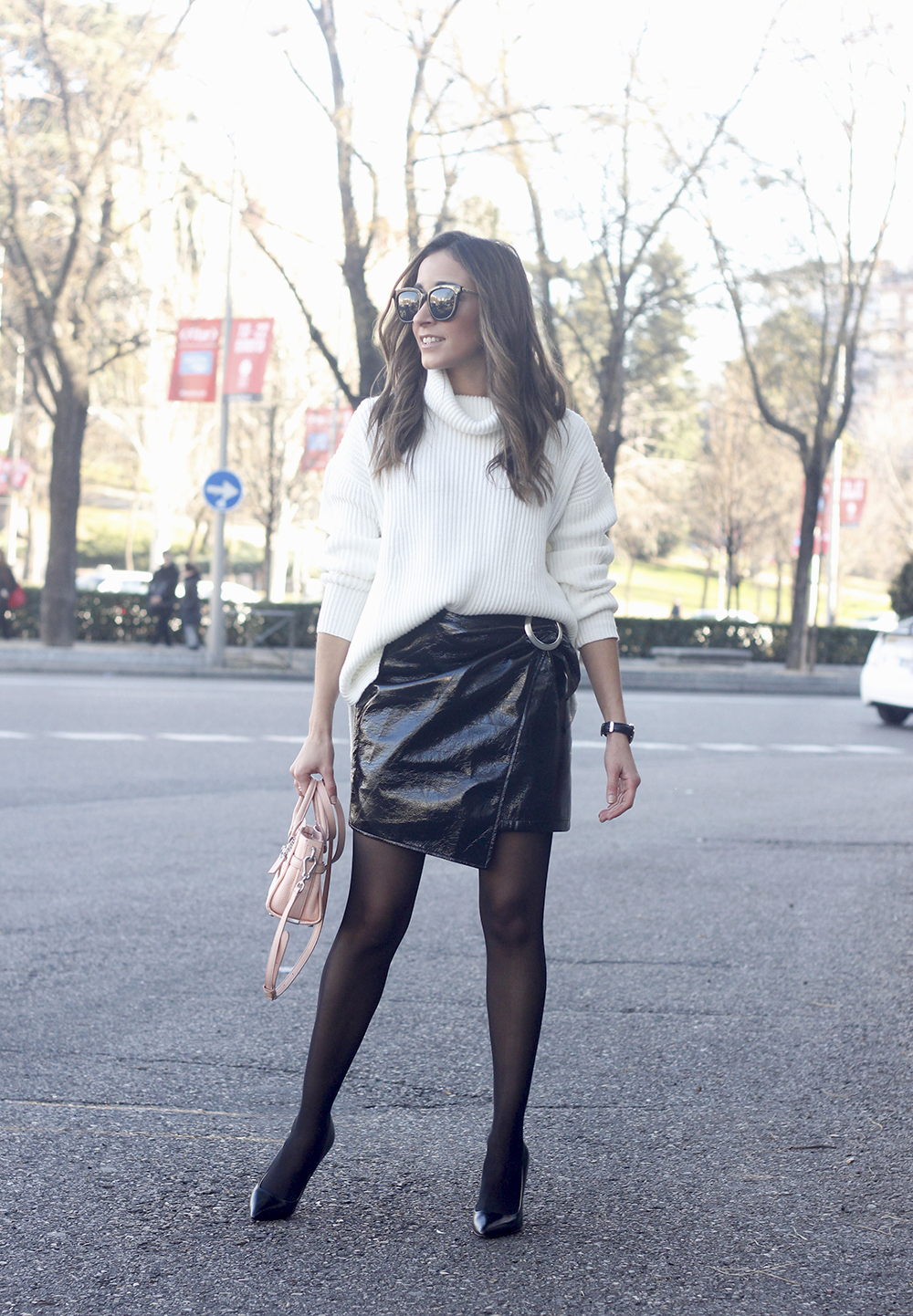 Black Patent leather skirt white sweater coach bag heels outfit style fashion winter01