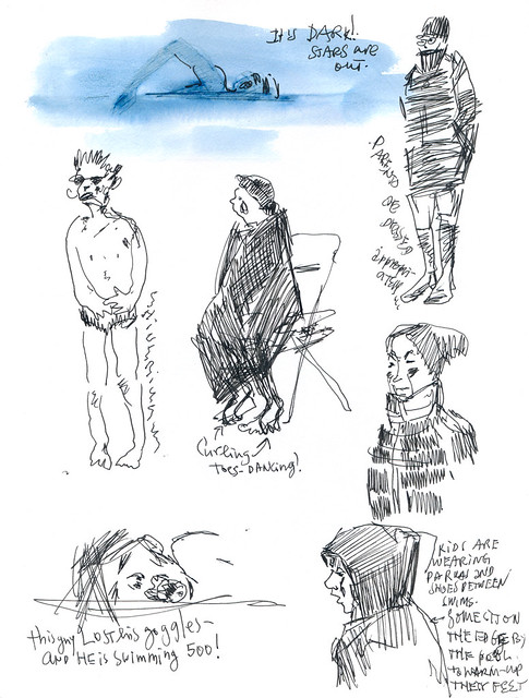 Sketchbook #101: Swim Meet at Night