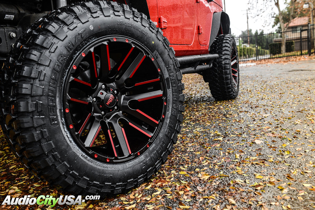 "Jeep Jk Tires >> 2013 Jeep Wrangler Jk Rubicon | 20"" Moto Metal Wheels 978 Black, Red Accents 