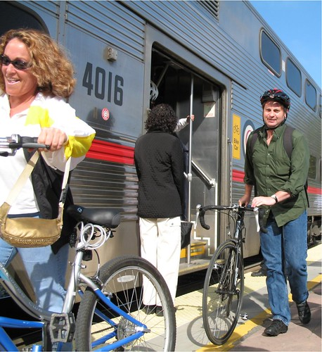 Cyclists disembark Caltrain at Palo Alto Station on Bike To Work Day | by Richard Masoner / Cyclelicious