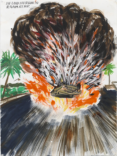 Raymond Pettibon, No Title (The land has…), 2008. Pen, ink, and gouache on paper, 29 1/2 x 22 1/4 in (74.9 x 65.5 cm). Courtesy David Zwirner, New York