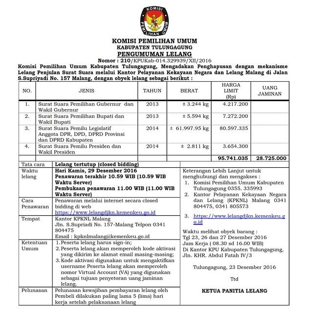 KPU TULUNGAGUNG LAKSANAKAN LELANG PENGHAPUSAN SURAT SUARA PILKADA 2013 DAN PEMILU 2014