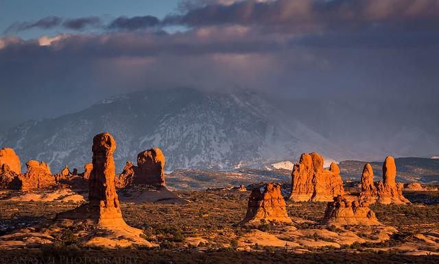 Arches Christmas Sunset