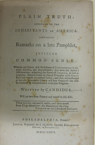 Common Sense, by Thomas Paine (1776) - ZSR Library