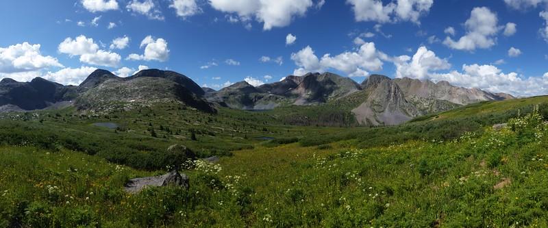 Panorama view back toward Rock Lake from the Rock Creek Trail near Rock Pass