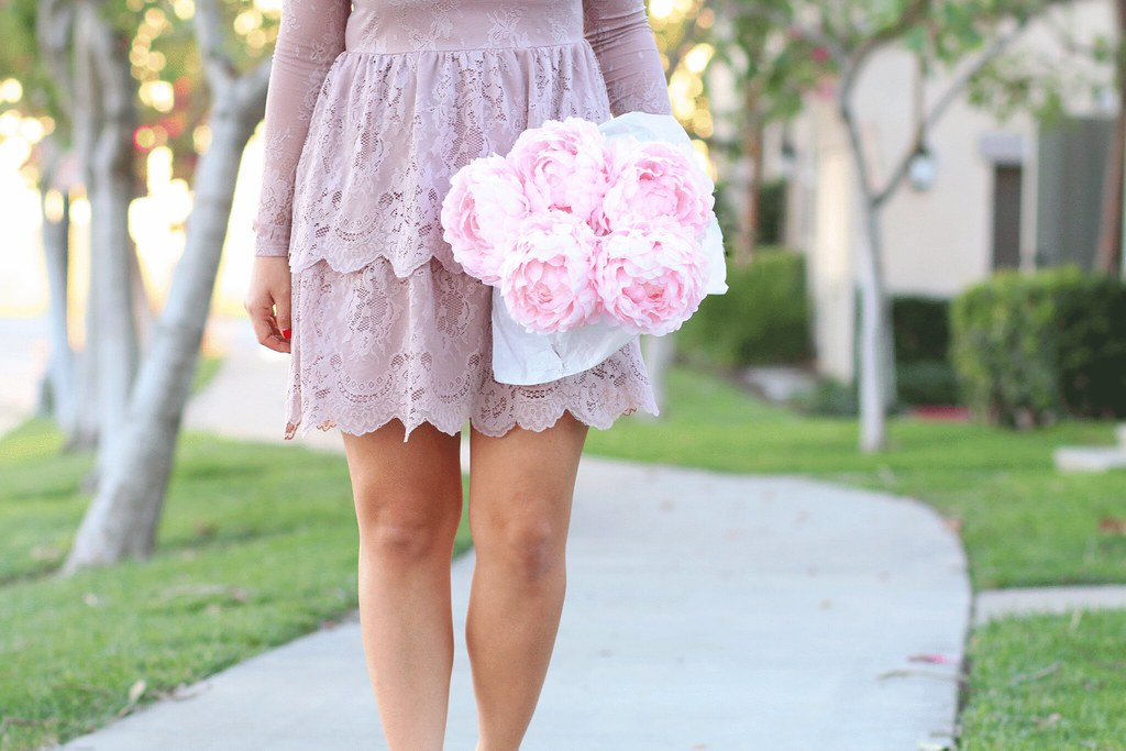 simplyxclassic, lace dress, lavender dress, chanel pin, fashion, blogger, ootd, white booties,