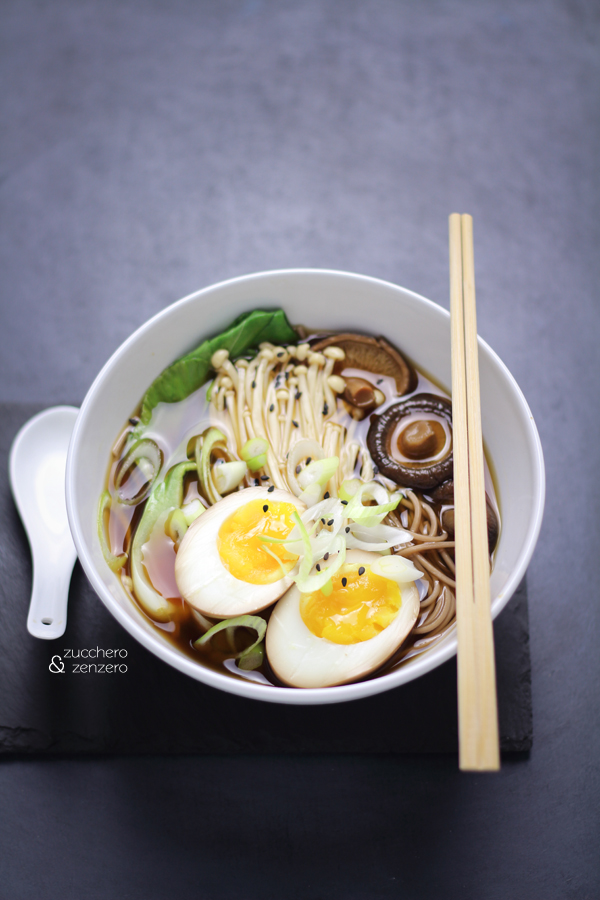 Vegetarian soba miso soup