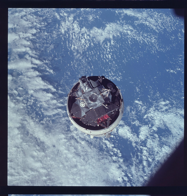 The Apollo 9 lunar module Spider, awaiting extraction