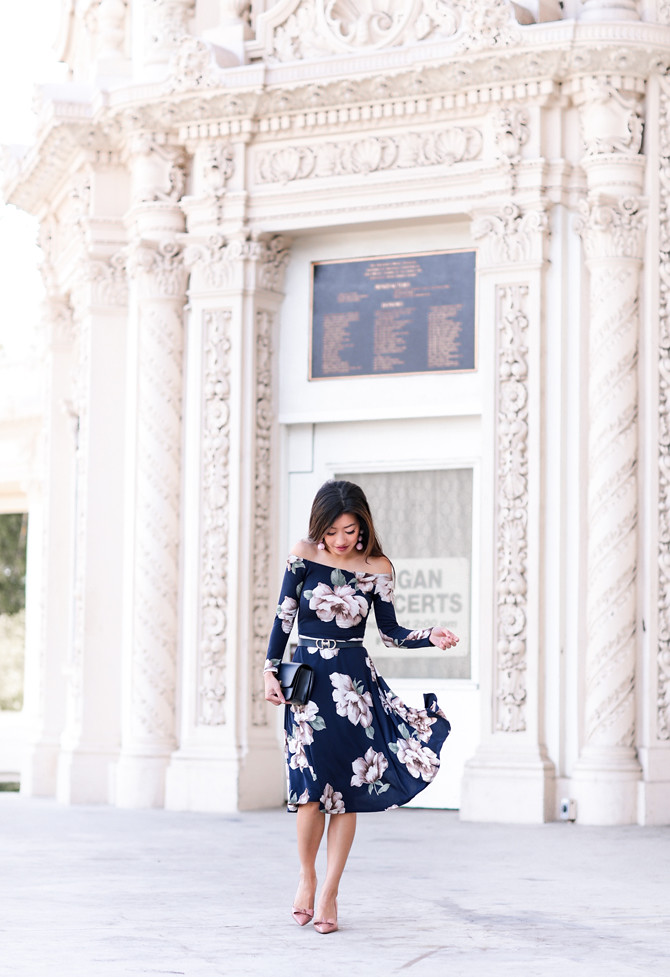 off shoulder floral navy midi dress extra petite blog